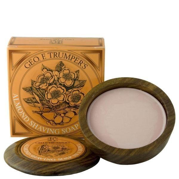 Almond Hard Shaving Soap in Wooden Bowl 80g