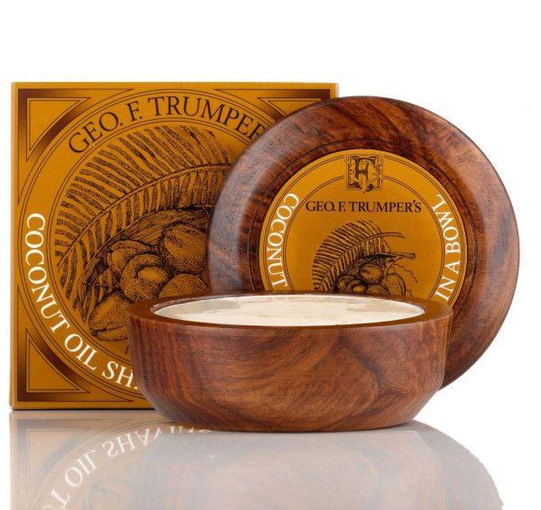 Coconut Oil Hard Shaving Soap in Wooden Bowl 80g